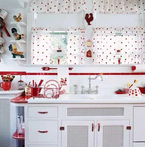 Cocina blanco y rojo17 - Cocinas decoradas en blanco ...