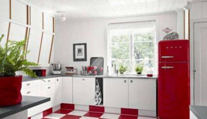 Fotos de cocinas decoradas en blanco y rojo for Ceramica corona para cocina
