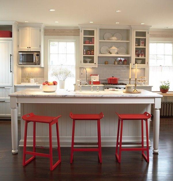 Cocina blanco y rojo25 - Cocinas decoradas en blanco ...