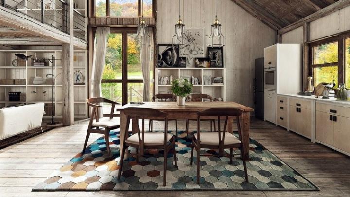 Cocina-comedor-alfombra