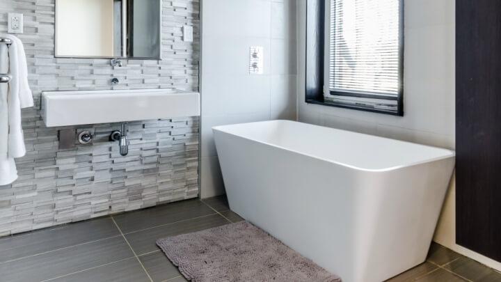 gray bathroom bathtub